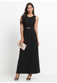 Długa sukienka wieczorowa z paskiem bonprix czarny. Kolor: czarny. Materiał: koronka. Długość rękawa: bez rękawów. Wzór: koronka. Styl: wizytowy. Długość: maxi