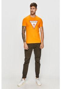 Pomarańczowy t-shirt Guess Jeans na co dzień, casualowy