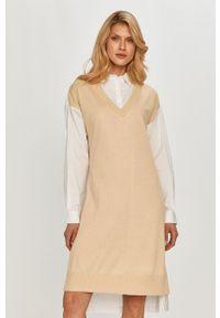 DKNY - Dkny - Sukienka. Okazja: na co dzień. Kolor: biały. Typ sukienki: proste. Styl: casual