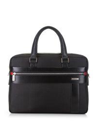 Czarna torba na laptopa Wittchen biznesowa, w kolorowe wzory