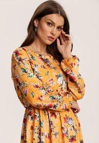 Renee - Żółto-Bordowa Sukienka Inoceneia. Kolor: żółty