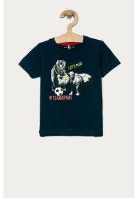 Turkusowy t-shirt Name it casualowy, z nadrukiem, na co dzień