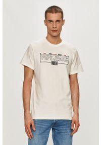Pepe Jeans - T-shirt Dennis. Okazja: na co dzień. Kolor: biały. Wzór: nadruk. Styl: casual