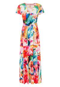 Sukienka w kwiaty bonprix pomarańczowo-czerwono-niebieski w kwiaty. Kolor: pomarańczowy. Wzór: kwiaty. Sezon: lato. Długość: maxi