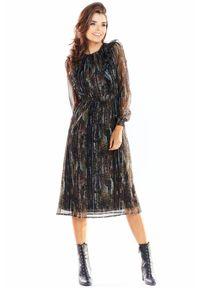 Awama - Wyjątkowa sukienka midi z włoskiego szyfonu z printem. Materiał: szyfon. Wzór: nadruk. Długość: midi