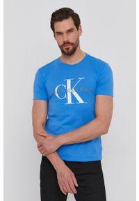 Calvin Klein Jeans - T-shirt. Okazja: na co dzień. Kolor: niebieski. Wzór: nadruk. Styl: casual