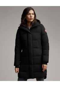 CANADA GOOSE - Czarny płaszcz Alliston. Kolor: czarny. Materiał: materiał. Wzór: aplikacja. Sezon: zima. Styl: klasyczny