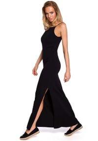 MOE - Czarna Maxi Dresowa Sukienka na Wąskich Ramiączkach. Kolor: czarny. Materiał: dresówka. Długość rękawa: na ramiączkach. Długość: maxi
