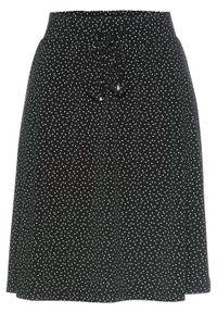 Spódnica z dżerseju bonprix czarno-biały w kropki. Kolor: czarny. Materiał: jersey. Wzór: kropki