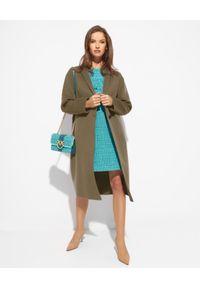 EMMA & GAIA - Wełniany płaszcz z broszką. Kolor: zielony. Materiał: wełna. Styl: klasyczny