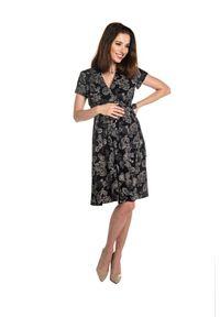 e-margeritka - Sukienka ciążowa i do karmienia wizytowa elegancka - 36. Okazja: do pracy. Kolekcja: moda ciążowa. Materiał: wiskoza, materiał. Sezon: lato. Typ sukienki: rozkloszowane. Styl: wizytowy, elegancki