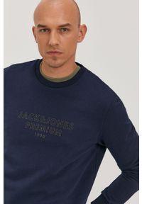 Premium by Jack&Jones - Bluza bawełniana. Okazja: na co dzień. Kolor: niebieski. Materiał: bawełna. Wzór: gładki. Styl: casual