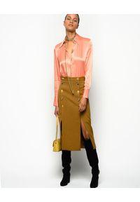 Pinko - PINKO - Brązowa spódnica z rozcięciami Burrasca. Okazja: do pracy, na spotkanie biznesowe. Kolor: brązowy. Materiał: materiał. Styl: biznesowy, elegancki