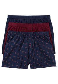Luźniejsze bokserki z dżerseju (3 pary) bonprix ciemnoniebiesko-ciemnoczerwony z nadrukiem. Kolor: niebieski. Materiał: jersey. Wzór: nadruk