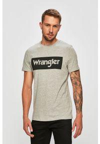 Szary t-shirt Wrangler casualowy, na co dzień
