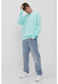 Turkusowa bluza nierozpinana adidas Originals z nadrukiem, bez kaptura