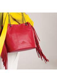 Czerwona torebka worek Wittchen z frędzlami, z aplikacjami, zdobiona, boho