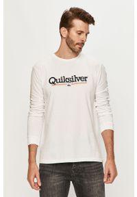 Biała koszulka z długim rękawem Quiksilver na co dzień, casualowa, z nadrukiem