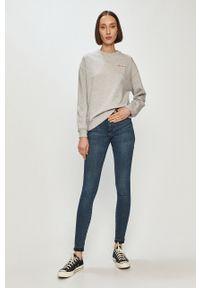 Szara bluza Pepe Jeans gładkie, długa, z długim rękawem