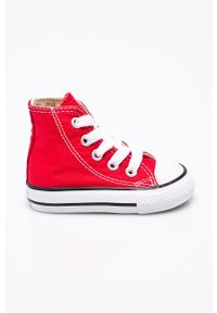 Czerwone trampki Converse z cholewką, z okrągłym noskiem