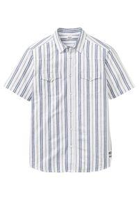 Biała koszula bonprix z krótkim rękawem, krótka, w paski