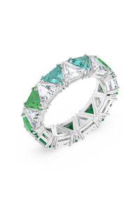 Srebrny pierścionek Swarovski z aplikacjami, z kryształem, ze stali