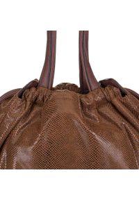 Brązowa torebka worek Wittchen z motywem zwierzęcym, z frędzlami