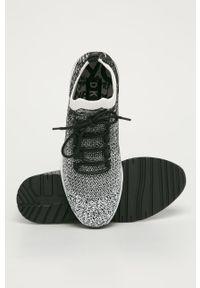 Czarne buty sportowe DKNY na obcasie, na średnim obcasie, z okrągłym noskiem