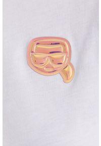 Karl Lagerfeld - T-shirt. Kolor: biały. Materiał: dzianina. Wzór: aplikacja