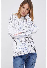 Desigual - Sweter. Kolor: biały. Materiał: dzianina. Długość rękawa: długi rękaw. Długość: długie