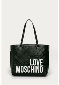 Czarna shopperka Love Moschino na ramię, z nadrukiem