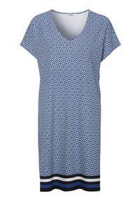 Cellbes Dżersejowa sukienka ze wzorem niebieski we wzory female niebieski/ze wzorem 46/48. Typ kołnierza: dekolt w serek. Kolor: niebieski. Materiał: jersey. Typ sukienki: proste. Styl: elegancki