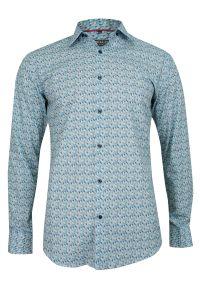 Niebieska elegancka koszula Bello długa, z długim rękawem, do pracy
