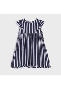 Sinsay - Sukienka w paski - Granatowy. Kolor: niebieski. Wzór: paski