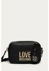 Czarna listonoszka Love Moschino z aplikacjami, na ramię, mała