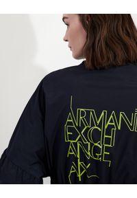 Armani Exchange - ARMANI EXCHANGE - Granatowa parka z logo. Kolor: niebieski. Materiał: tkanina. Styl: elegancki