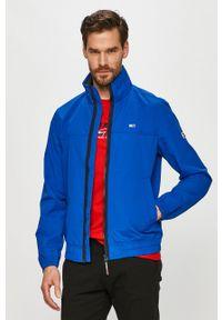 Niebieska kurtka Tommy Jeans bez kaptura, gładkie