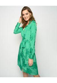 Zielona sukienka Pinko elegancka, w kwiaty, z długim rękawem