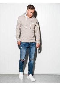 Ombre Clothing - Bluza męska z kapturem B963 - beżowa - XL. Typ kołnierza: kaptur. Kolor: beżowy. Materiał: dzianina, bawełna, poliester. Wzór: aplikacja