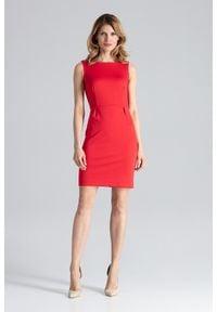 Figl - Koralowa Modna Ołówkowa Sukienka Bez Rękawów. Kolor: pomarańczowy. Materiał: poliester, wiskoza, lycra. Długość rękawa: bez rękawów. Typ sukienki: ołówkowe