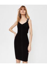OFF-WHITE - Czarna sukienka z dzianiny. Kolor: czarny. Materiał: dzianina. Długość rękawa: na ramiączkach. Typ sukienki: dopasowane, proste