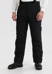 Born2be - Czarne Spodnie Narciarskie Daeiles. Stan: podwyższony. Kolor: czarny. Materiał: tkanina, polar. Długość: długie. Sezon: zima. Styl: sportowy