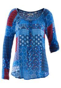 Tunika kreszowana, długi rękaw bonprix niebieski Chagall wzorzysty. Kolor: niebieski. Długość rękawa: długi rękaw. Długość: długie
