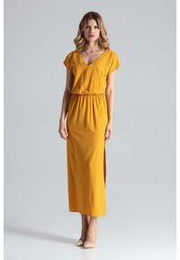 Figl - Musztardowa Sukienka Maxi z Dekoltem V. Kolor: żółty. Materiał: poliester, elastan. Długość: maxi