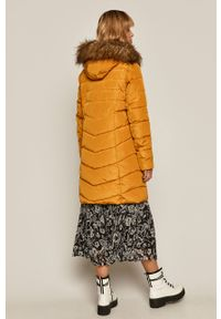 Pomarańczowy płaszcz medicine z kapturem, casualowy, na co dzień