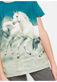 T-shirt dziewczęcy z fotodrukiem bonprix morski turkusowy. Kolor: niebieski