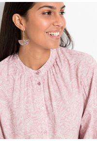 Różowa bluzka bonprix ze stójką, w kwiaty