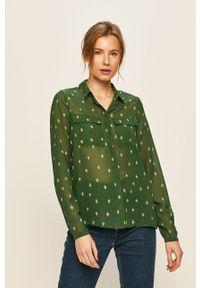 Zielona koszula Vila długa, na co dzień, z klasycznym kołnierzykiem