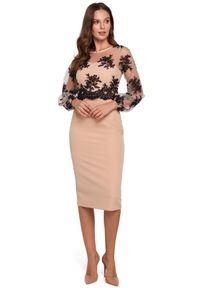 Makover - Wieczorowa ekskluzywna ołówkowa sukienka z koronką. Okazja: na ślub cywilny, na wesele, na imprezę. Typ kołnierza: dekolt gorset. Materiał: koronka. Wzór: koronka. Typ sukienki: ołówkowe. Styl: wizytowy #3