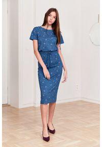 Marie Zélie - Sukienka Elwina Arbustum niebieska. Okazja: na co dzień. Kolor: niebieski. Materiał: wiskoza, dzianina, materiał, elastan, tkanina, guma. Długość rękawa: krótki rękaw. Typ sukienki: proste. Styl: casual